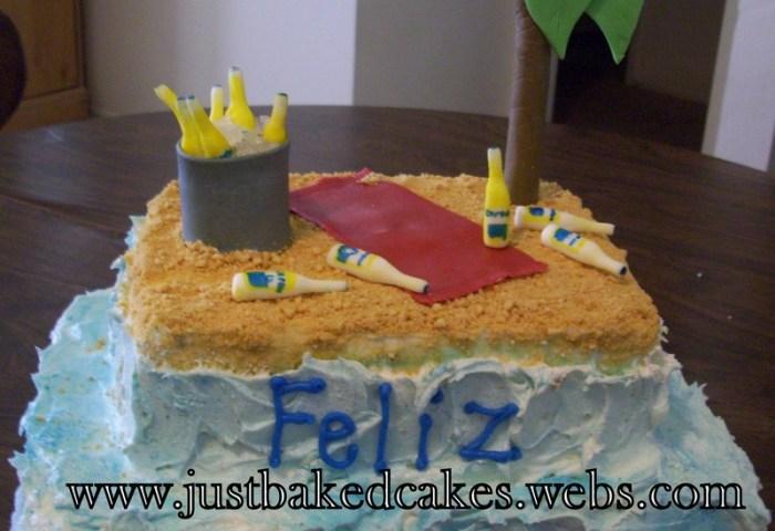 Corona Beer Beach Themed Birthday Cake