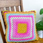 Neon Bright Granny Square Pillow Just Be Crafty