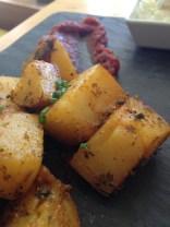 Homemade bravas with vegan aioli and spicy tomato sauce