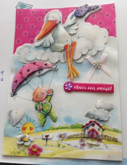 Handmade card with Stork & Babies when my daughter was born