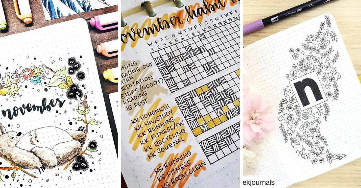 Fabulous November Bullet Journal Themes Cover Pages And