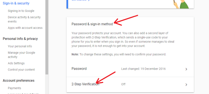 Enable 2 step verification Gmail Account