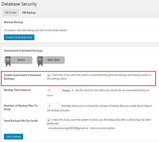 All In One WP Security & Firewall Plugin Settings