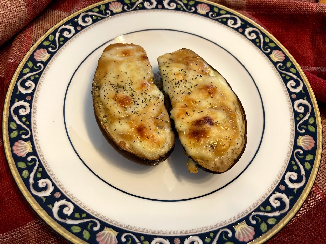 baked eggplants with miso and cheese