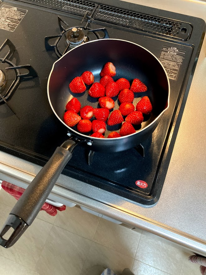 strawberries in a pan