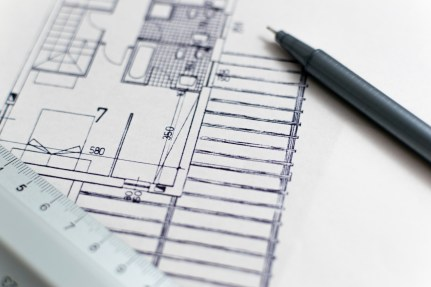 hand-drawn building plans