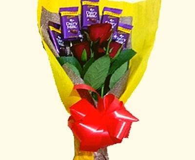 5 Cadbury & 3 Rose Bouquet in Pune Designs, Images, Price