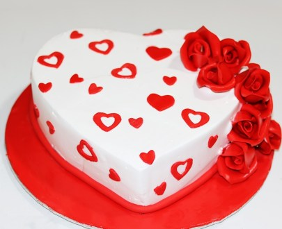 Red Hearts Cake