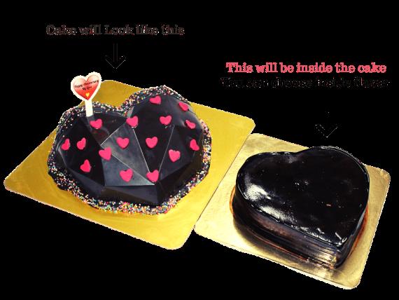 Heart Diamond Pinata Cake in Pune2