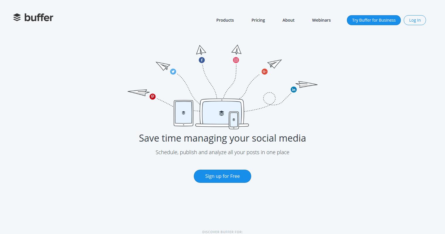 Buffer social media Startup tools