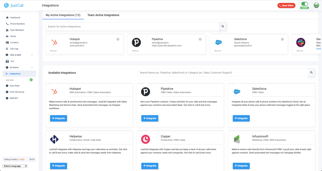 JustCall integrations Marketplace