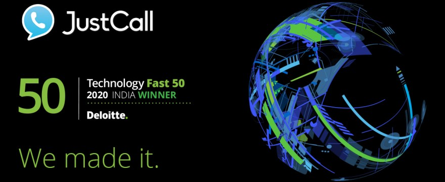 JustCall Ranks 8th At The Deloitte Tech Fast 50 India 2020 Awards