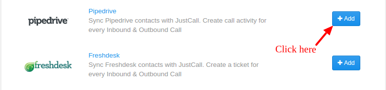 Add Pipedrive Integration Justcall