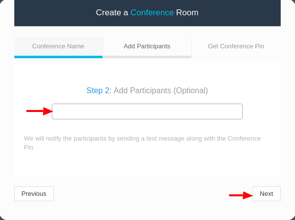 Add Participants to the Conference call