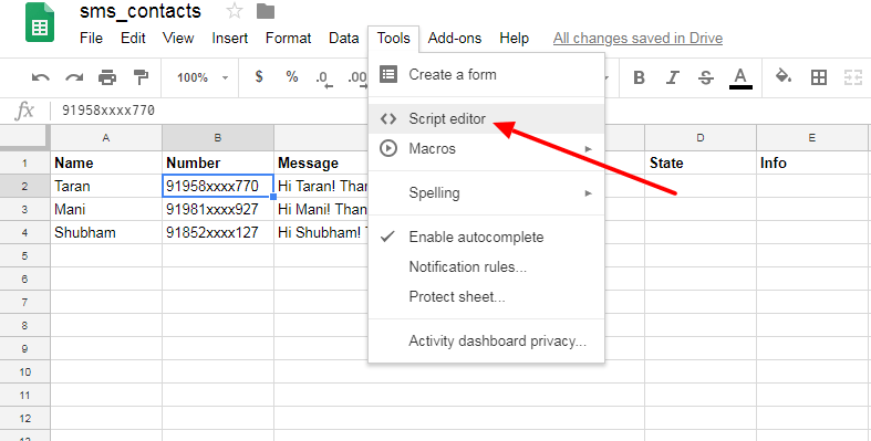 How to send SMS from Google sheet? - JustCall Help Center
