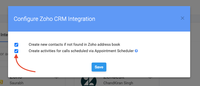 Zoho Appointments in Justcall