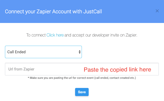 Connect Zapier with JustCall