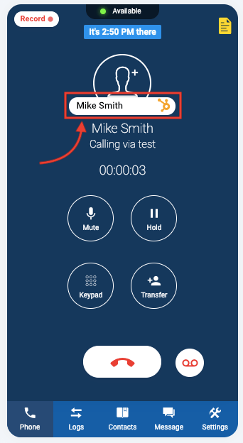 outbound call screen with Hubspot button