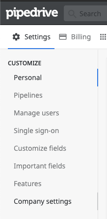 pipedrive company settings