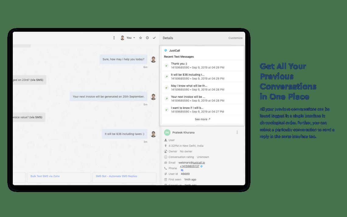 SMS in inbox on Intercom