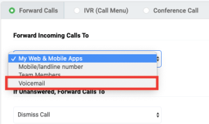 Forward calls to voicemail
