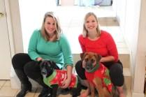 JJ sisters w pups Christmas 2013