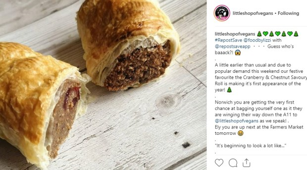 little shop of vegans food by lizzi sausage roll