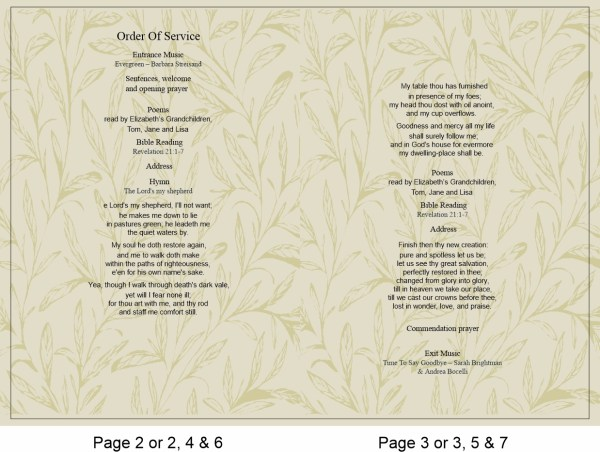 order of service template Doves And Leaves