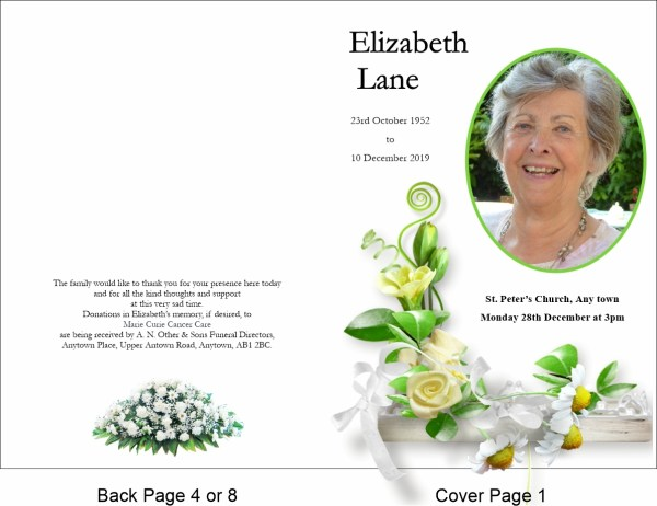 order of service template White Rose Theme