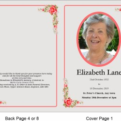 order of service template Rose with line border