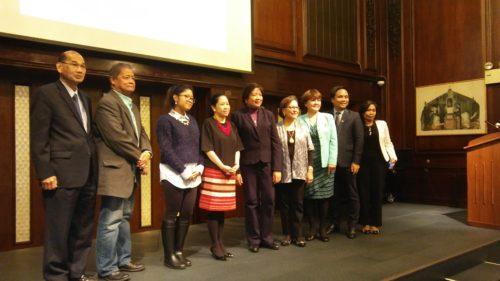 Vivian Cruz (4th from right) with the BASP convenors and Ms. Eleanor de Leon, wife of former ConGen Mario de Leon Jr. (5th from right)