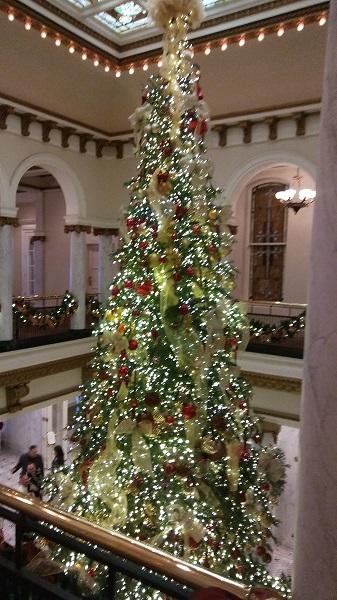 Elegant Christmas tree in Capital Hotel, Little Rock, AR