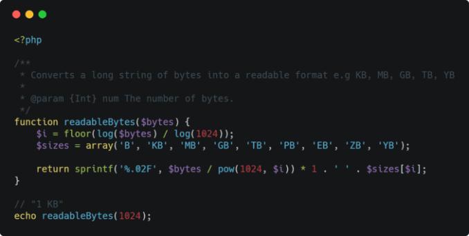 PHP: 将字节转换为可读值(KB,MB,GB,TB,PB,EB,ZB,YB), Converting bytes to human readable values (KB, MB, GB, TB, PB, EB, ZB, YB) with PHP