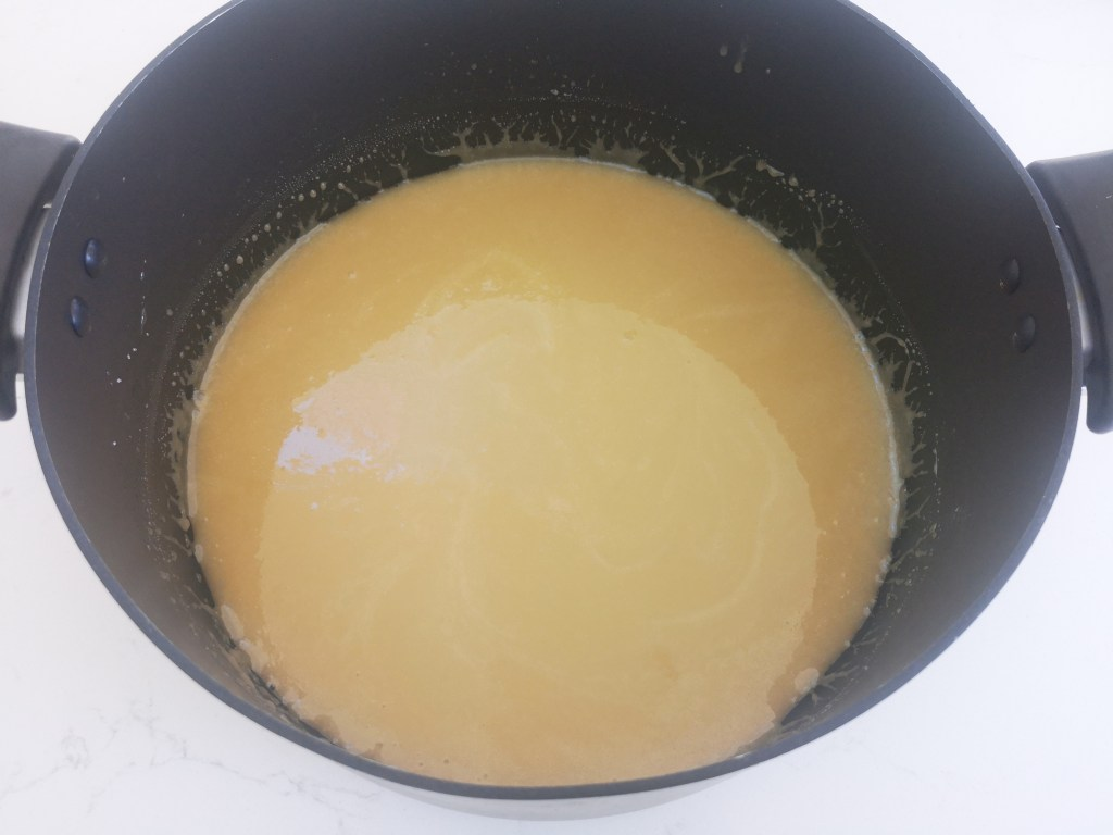 Dissolve sugar and butter and syrup