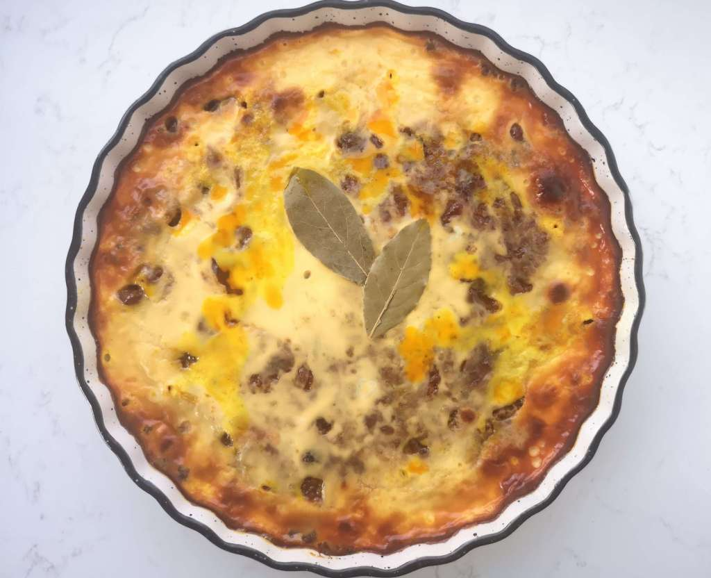 Baked traditional bobotie