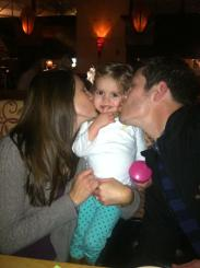 Loving on our bug at a birthday dinner