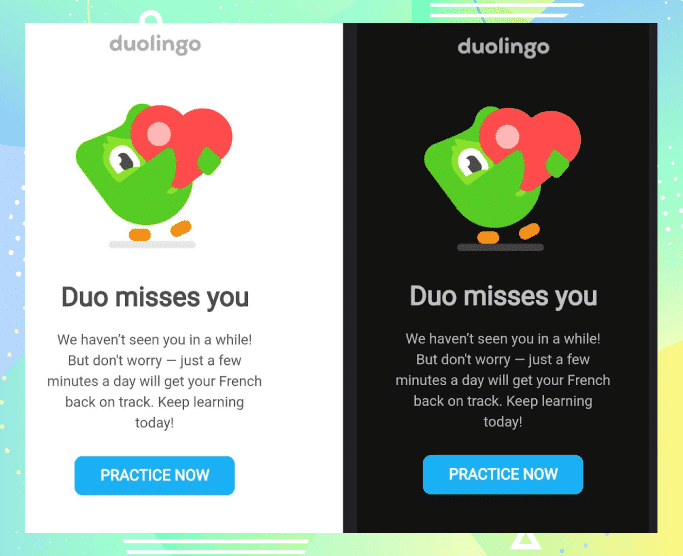 Dark mode email by Duolingo - Email Design Trends 2021