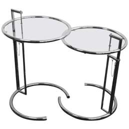 Chrome side table by Eileen Gray first show in 1927