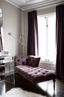Glam Decor with light grey walls with rich purples