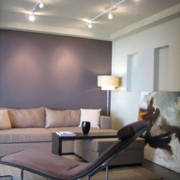 Modern decor with grey and plums