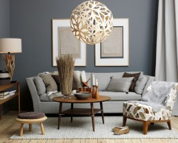 Contemporary decor with tone on tone grey and medium brown wood accents