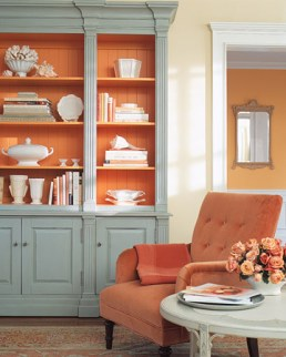 Soft orange with medium grey accents