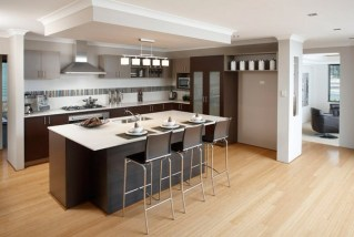 Lowered ceiling defines Kitchen area