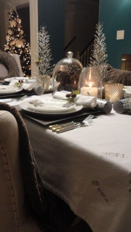 Embroidered Christmas white linen table cloth