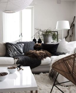 A faux fur addition to any couch adds texture and interest