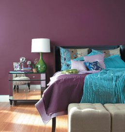 A progressive pairing of aqua and vibrant mauves