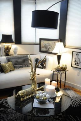black white gold glam living room