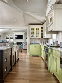 Apple green base cabinets with brown island