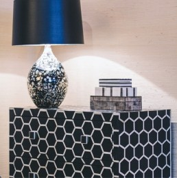 Classic black and white dresser with honeycomb pattern