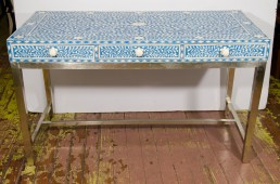Blue and white inlay desk